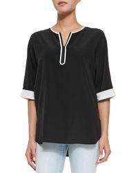 Vince - Black Short-sleeve Contrast-trim Blouse - Lyst