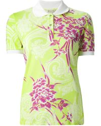 Etro - Green Floral Print Polo Shirt - Lyst