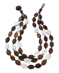 Viktoria Hayman - Brown Tiger Wood & Mother-of-pearl Triple Strand Necklace - Lyst