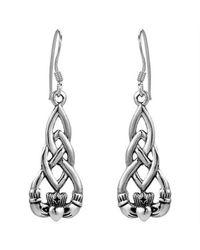 Aeravida | Metallic Irish Celtic Heart Claddagh .925 Sterling Silver Dangle Earrings | Lyst