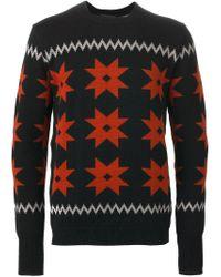 Kolor - Black Intarsia Knit Sweater for Men - Lyst