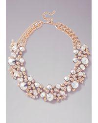 Bebe - Metallic Multi-stone Floral Necklace - Lyst