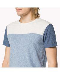 Tommy Hilfiger | Blue Cotton Colorblock T-shirt for Men | Lyst