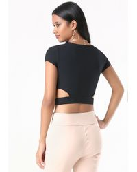 Bebe - Black Cutout Crop Top - Lyst