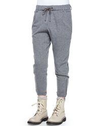 Brunello Cucinelli - Gray Cashmere-Blend Sweatpants - Lyst