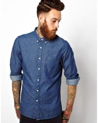 ASOS - Blue Denim Shirt In Long Sleeve With Rinse Wash for Men - Lyst