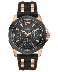 Guess - Men's Black Silicone And Rose Gold-tone Bracelet Watch 43mm U0366g3 for Men - Lyst