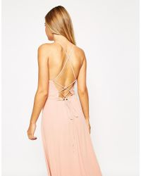 ASOS | Pink Maxi Dress With Tie Back | Lyst