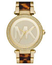 MICHAEL Michael Kors | Brown Michael Kors 'parker' Logo Dial Bracelet Watch | Lyst