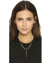 Rebecca Minkoff - Metallic Crystal Dainty Stone Y Necklace - Gold/clear - Lyst
