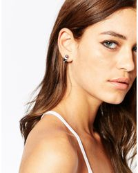 ASOS - Black Faux Pearl Triangle Stud Earrings - Lyst