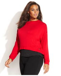 Calvin Klein - Plus Size Long-Sleeve Layered-Look Top - Lyst