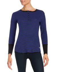 Calvin Klein - Purple Striped Henley - Lyst