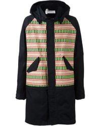 Julien David | Blue Striped Panel Hooded Coat for Men | Lyst