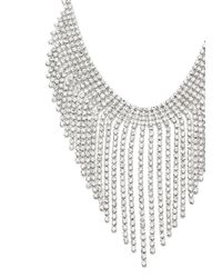 Forever 21 - Metallic Rhinestone Fringe Statement Necklace - Lyst