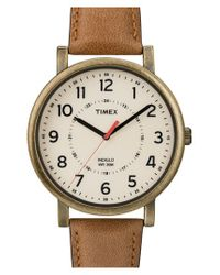 Timex - Brown Antiqued Case & Leather Strap Watch - Lyst