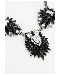 Missguided - Jaleesa Triple Cluster Necklace Black - Lyst