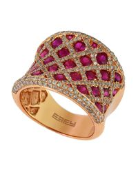 Effy | Pink Diamond And Ruby 14K Rose Gold Ring, 1.19 Tcw | Lyst