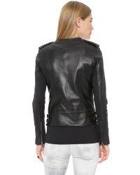Nour Hammour - Erin Studded Leather Jacket - Black/black - Lyst