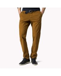 Tommy Hilfiger - Brown Cotton Twill Regular Fit Chino for Men - Lyst