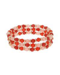 1928 - Red Tangerine Dreams Bead Triple Row Bracelet - Lyst