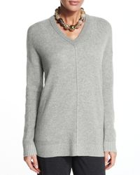 Eileen Fisher | Gray Plaited V-neck Cashmere Tunic | Lyst