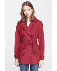 Burberry Brit | Red 'brooksby' Double Breasted Trench Coat | Lyst