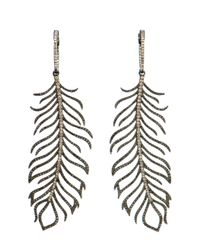 Rosa De La Cruz - Black 18k Gold And Diamond Feather Earrings - Lyst