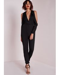 Missguided | Tux Cut Out Shoulder Jumpsuit Black | Lyst