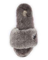 UGG | Gray Fluff Shearling Fur Slide Slipper | Lyst