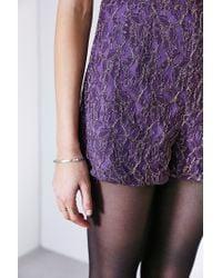 Kimchi Blue - Purple Metallic Lace High-neck Romper - Lyst