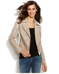 INC International Concepts - Gray Faux-Leather Mixed-Media Moto Jacket - Lyst
