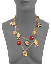Alexander McQueen - Metallic Mixed Flower Charm Necklace - Lyst