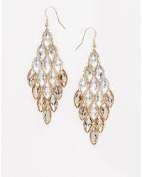 Lipsy - Metallic Teardrop Stone Cascade Earrings - Lyst