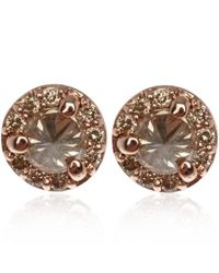 Anna Sheffield | Pink Tiny Rose Gold Champagne Diamond Rosette Stud Earrings | Lyst