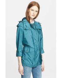 Burberry Brit | Blue 'maidleigh' Hooded Roll Sleeve Jacket | Lyst
