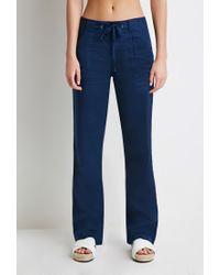 Forever 21 - Blue Linen Drawstring Pants - Lyst