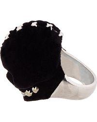 Alexander McQueen | Black Silver and Velvet Luchador Skull Ring for Men | Lyst
