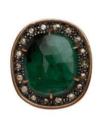 Moritz Glik | Green Rose Gold Emerald and Champagne Diamond Ring | Lyst