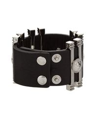 Versus | Black Lion-Head Leather Cuff | Lyst