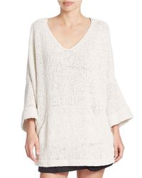Free People | White Bell Sleeve Tunic Sweater | Lyst