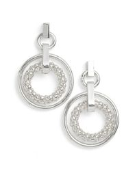 Anne Klein | Metallic Drop Hoop Earrings | Lyst