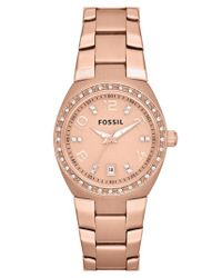 Fossil - Pink Crystal Dial Watch - Lyst