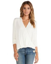 Michael Stars - White Long Sleeve Surplice Top - Lyst