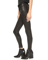 Joe's Jeans | Distressed Leather Skinny Ankle Pants - Black | Lyst