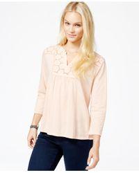 Lucky Brand | Pink Lucky Brand Three-quarter-sleeve Crochet-detail Top | Lyst