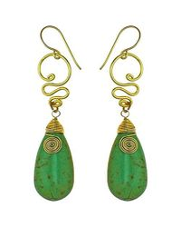 Aeravida | Cute Green Howlite Teardrop Brass Swirl Earrings | Lyst