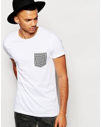 Jack & Jones - Gray T-shirt With Contrast Check Pocket for Men - Lyst