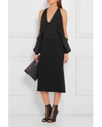Narciso Rodriguez - Black Fluted Textured-crepe Skirt - Lyst