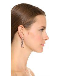 Michael Kors | Metallic Park Avenue Crossover Hoop Earrings - Rose Gold/black | Lyst